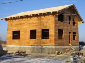 продолжается строительство дома из клееного бруса лиственница, монтаж натуральной черепицы