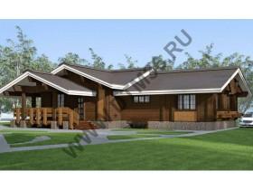 Проект дома из бруса - Проект под строительство деревянного дома «Тихая прохлада» 230м2.