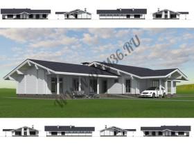 Проект под строительство деревянного дома с бассейном  «Белый лебедь» 239м2.