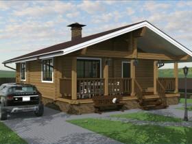 Проект дома из бруса - Проект под строительство деревянного дома из клееного бруса «Гостеприимный» 75м2.