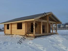 Строительство деревянного дома из клееного профилированного бруса 75м2 зимой.