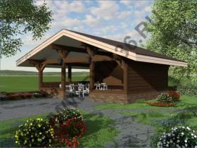 Баня из бруса - Проект под строительство деревянной беседки «Мечта Поэта» 38м2.