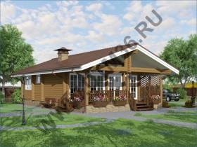 Проект дома из бруса - Проект для строительства деревянного дома из клееного профилированного бруса  «Классика» 85м2.