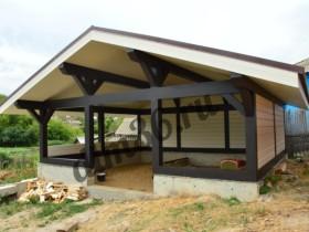 Строительство большой деревянной беседки в Дивногорье из клееного  бруса площадью 38м2.