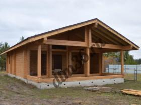 Строительство деревянного дома из клееного профилированного бруса 85м2.