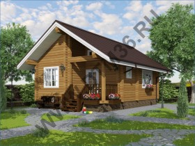 Проект дома из бруса - Проект под строительство деревянного гостевого дома из клееного профилированного бруса  48м2 «Теплый».