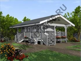 Баня из бруса - Проект под строительство летней кухни с верандой из клееного профилированного бруса.