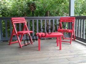 """терраса из палубной доски (лиственница), авторская деревянная мебель, покрытие - краска австрийской краски """"Adler"""" легко наносится. прекрасно функционирует."""
