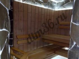Беседки и мебель из бруса - Роскошная парилка в бане. Полки  абаш. Стены — дубовые плахи.