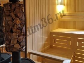 Беседки и мебель из бруса - Отделка парилки в деревянной бане из клееного профилированного бруса.
