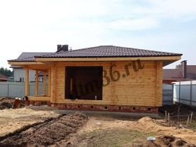 Этапы строительства деревянной бани из клееного профилированного бруса 60м2.