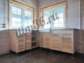 Беседки и мебель из бруса - Деревянная кухня из лиственницы.